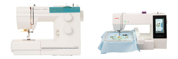 Two sewing machines where one just an an embroidery machine and the other is a combo sewing and embroidery