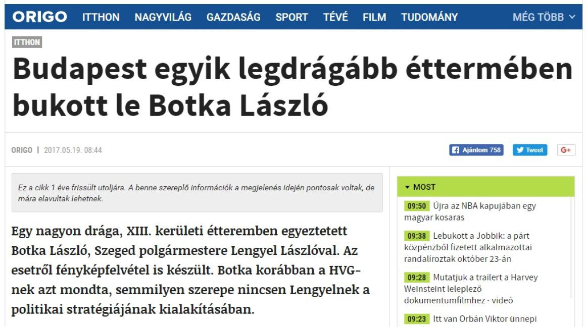 38a1b3d388 Botka was found collaborating with the mayor of Szeged, Laszlo Lengyel, in  a very expensive restaurant in District 13. A photo of that night was also  taken.