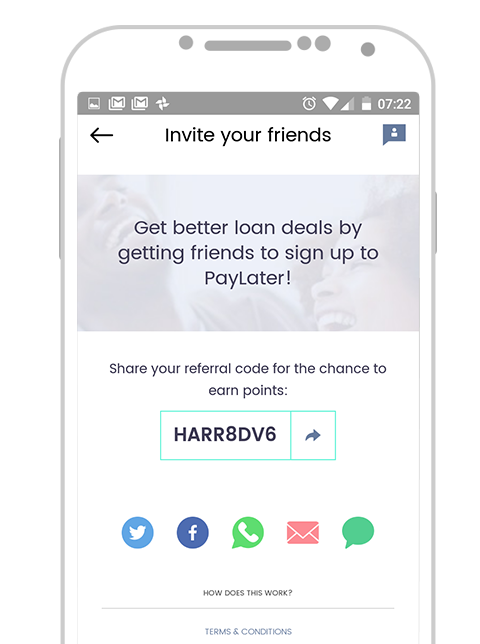 Paylater App v2 - Referral codes