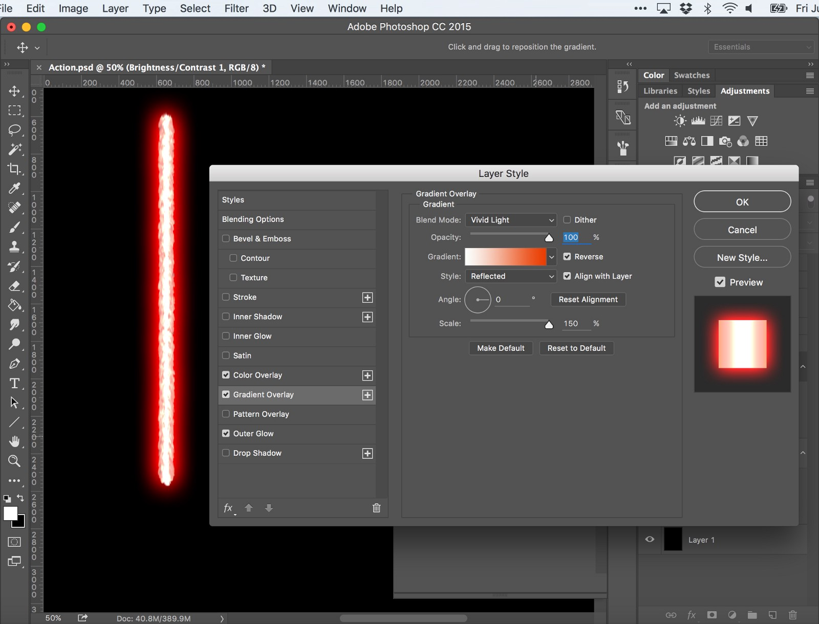 How to make kylo rens unstable lightsaber blade in photoshop layer style gradient overlay note you might need to play with the scale depends on how big your lightsaber is baditri Images