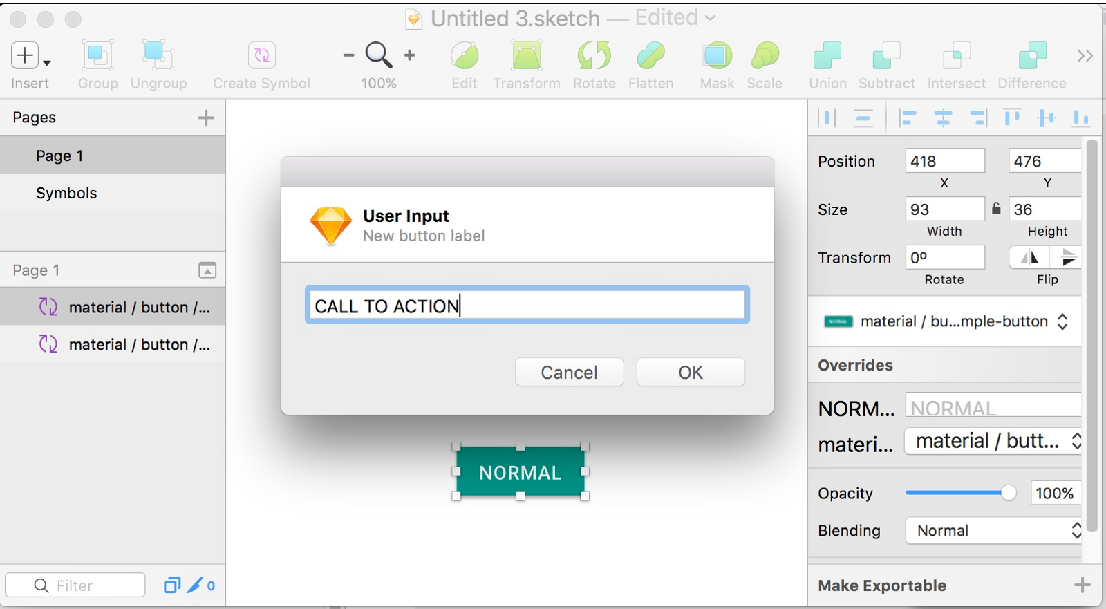 Sketch app a better responsive button using symbols clicking ok will change the text property in the symbols overrides and resize the button to keep a consistent padding between the text and the button buycottarizona