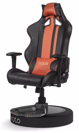 roto vr chair. along with reacting to things happening a vr game, it also has buttons on the footrest that you can use simulate walking. couple this fact roto vr chair c