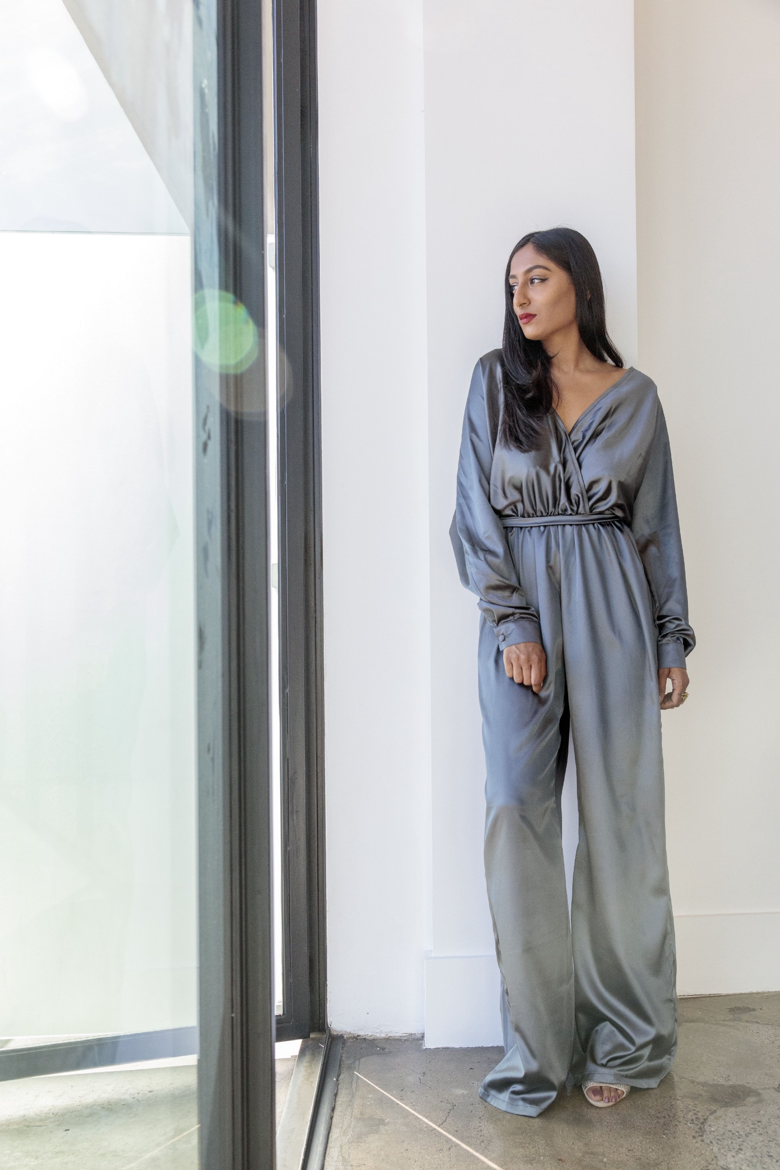 Pavana Reddy looking stunning in Bastet Noir's dark grey jumpsuit, photo by: Joshua White
