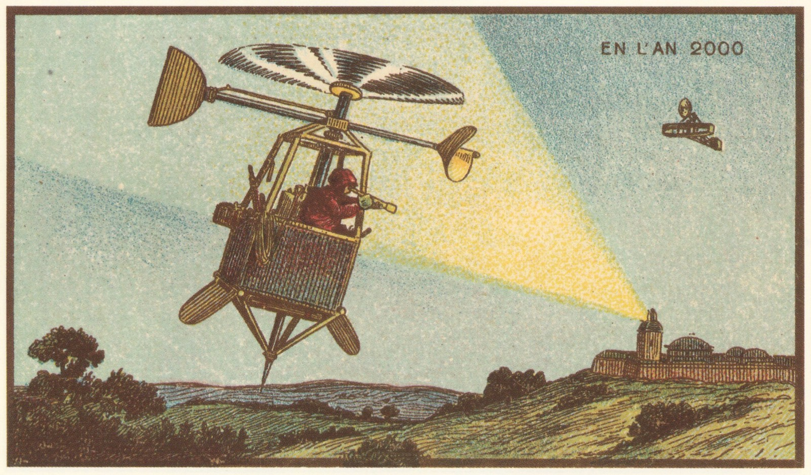 """Advance Sentinel in a Helicopter."" Jean Marc Côté, 1899."