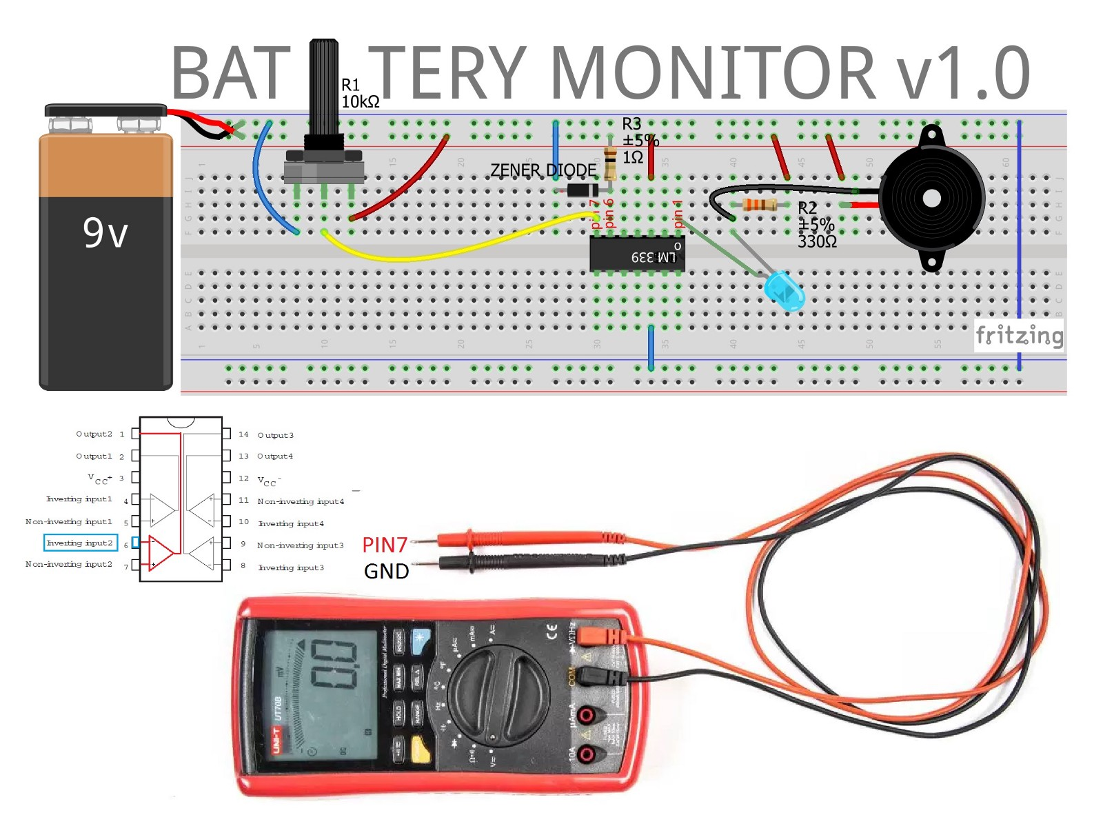 Battery Monitor Circuit Jungletronics Medium Power Schematic Once Established Limits Higher 9 Volts And Lower V 6 The Until Its Voltage Drops Below 6v Led Lights Triggers Alarm