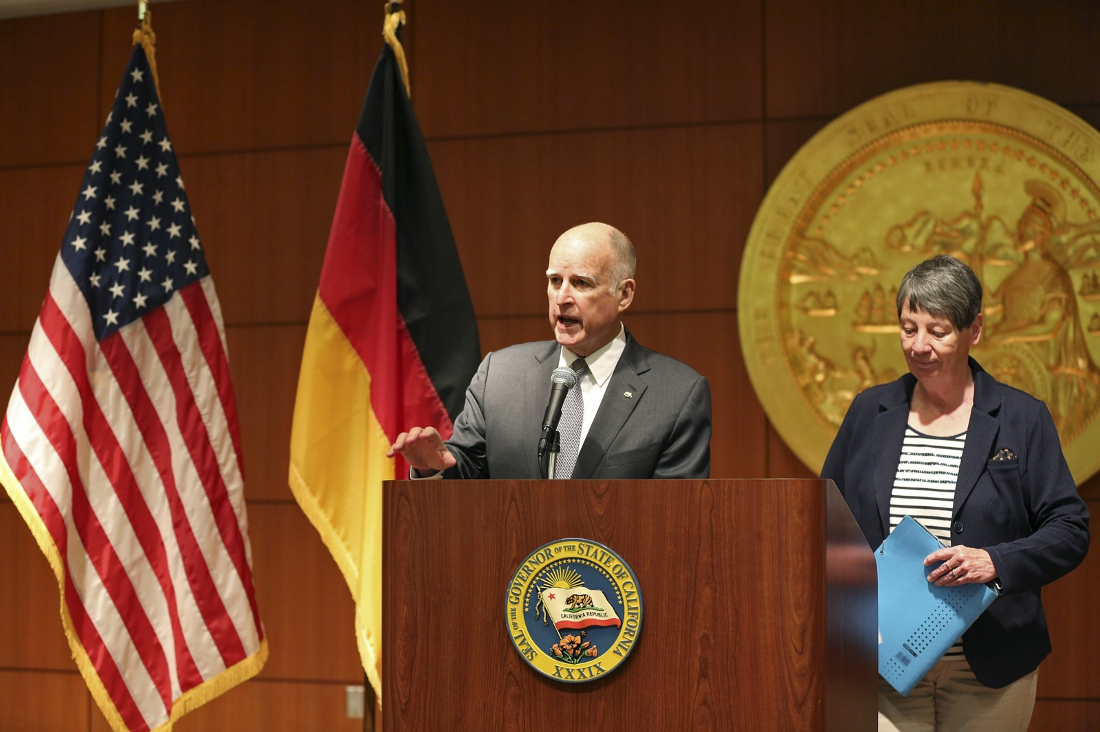 California Gov. Jerry Brown with German Federal Minister for the Environment Barbara Hendricks. CREDIT AP