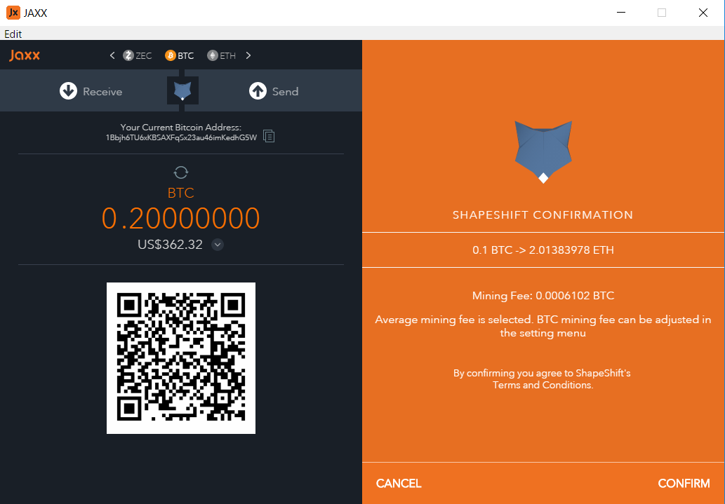 How to exchange btc to eth with jaxx and shapeshift finish ccuart Choice Image