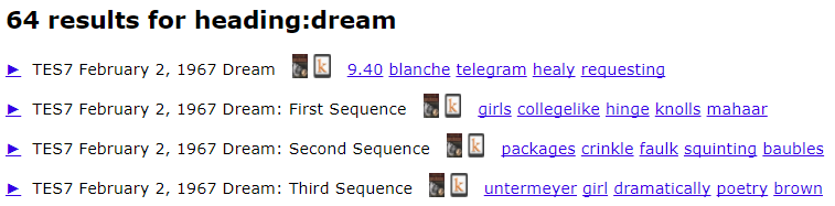 64 results for heading:dream