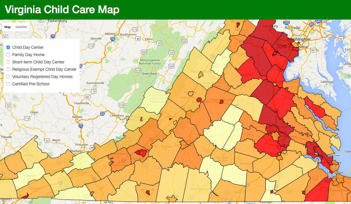 Interactive Map Of Virginia.Virginia Childcare Map Code For New River Valley