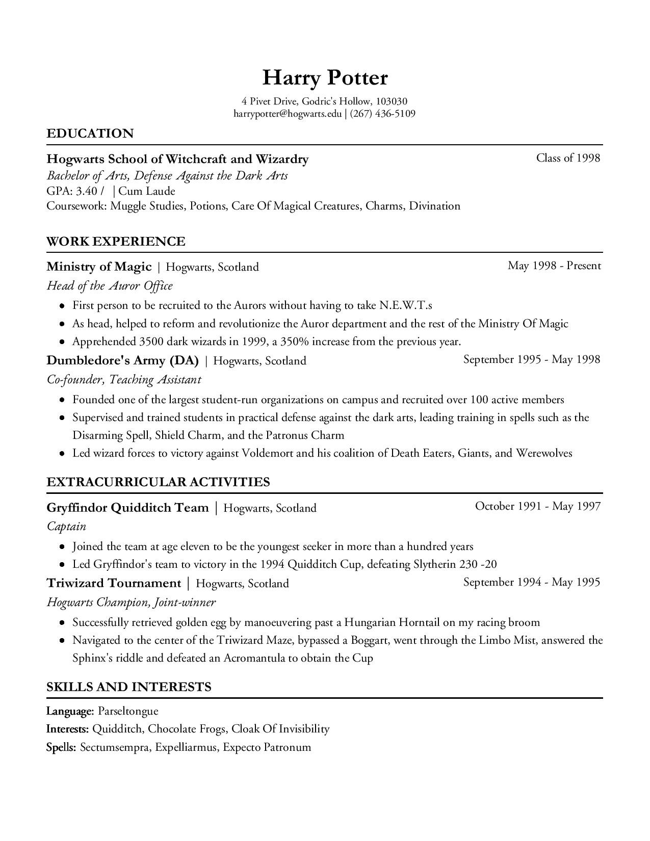 harry potters resume built with resumegem - Effective Resume