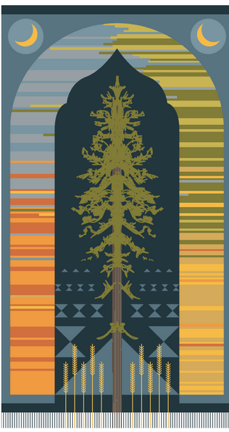At The Center Of Rug Stands Alberta S Official Tree Lodgepole Pine Mimicking Motif Cyprus Trees Found On Traditional Syrian And Lebanese