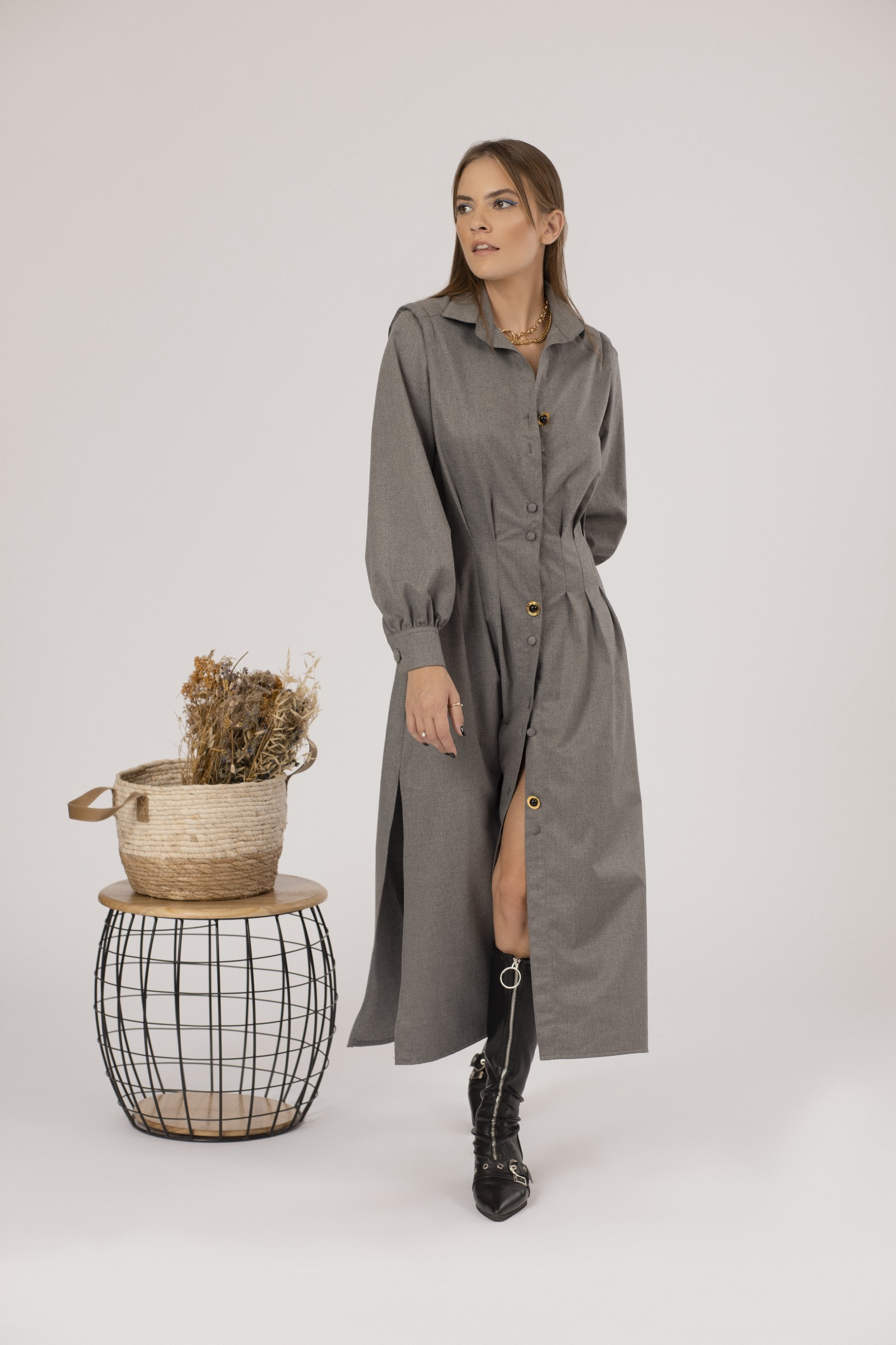 Grey wool shirt dress with side pockets