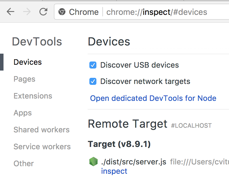 "The contents of the chrome://inspect page, with an entry under the ""Remote target"" heading"
