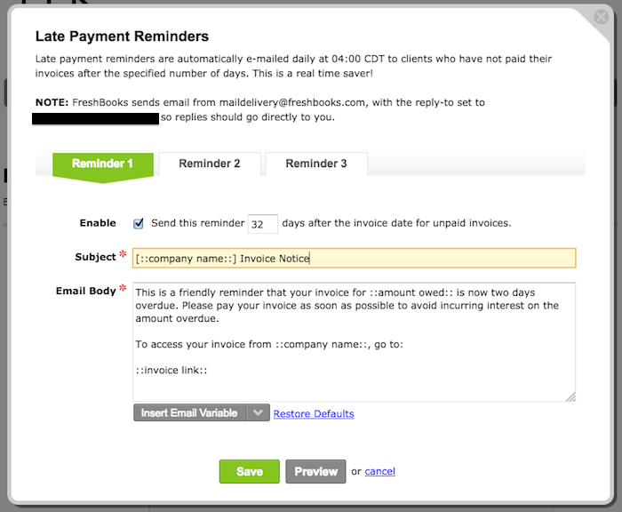 Make FreshBooks The Bad Guy Reducing Late Payments Through - Invoice email to client