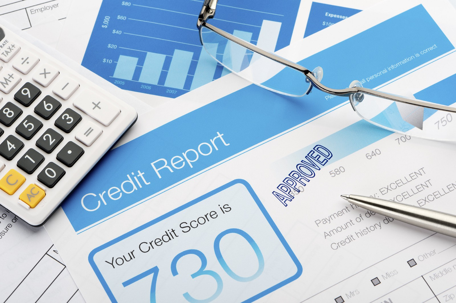 credit builder loan papers, spread across table