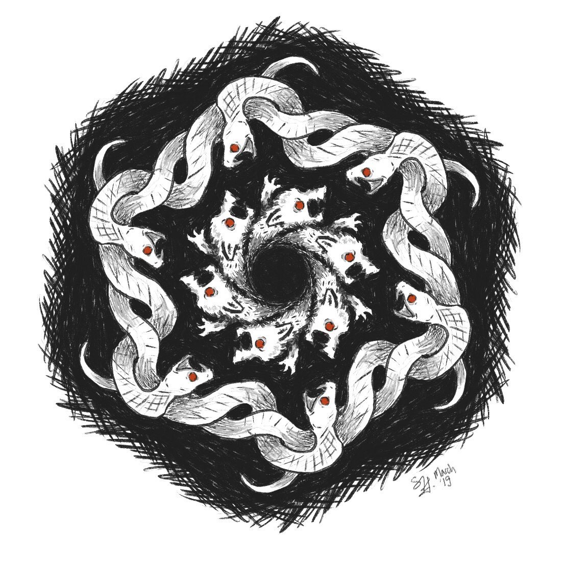 Image description: a loop of overlapping white ferrets with red eyes surrounded by a larger loop of snakes, their bodies wound together. The snakes and ferrets are snarling at each other.