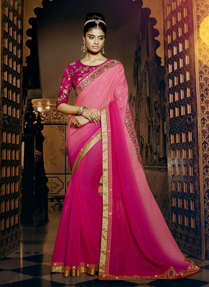 4e88bfaca Georgette sarees are like a royal treasure. Their shimmering and soft  texture is easily recognizable. The workmanship is intricate with stitching  being of ...