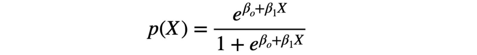 Probability of X with logistic function
