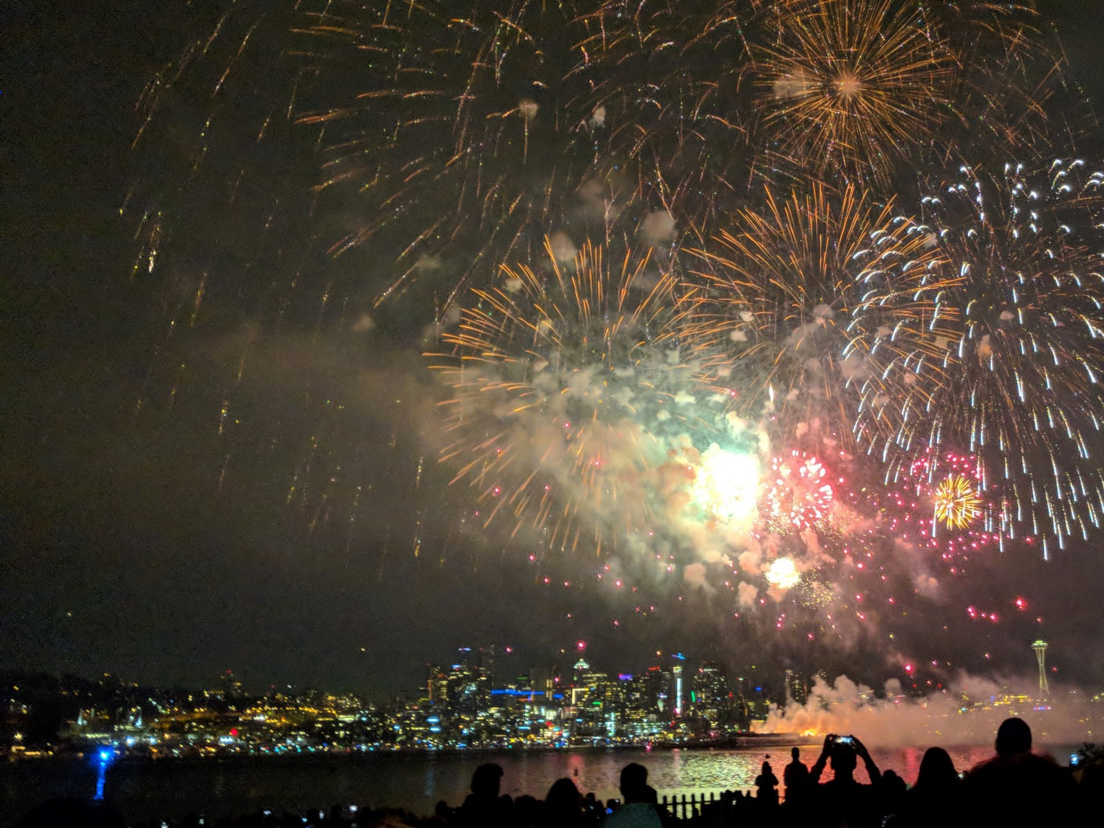 an amazing display of fireworks at gas works park