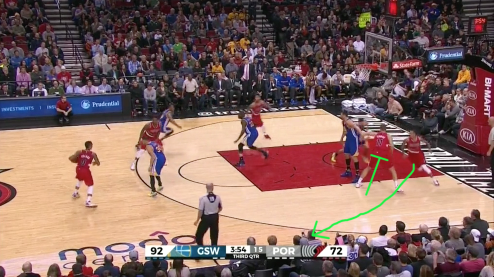 Pindown The Basketball Dictionary Medium Pin Curl Diagram In Traditional Screener Angles His Screen On A Direct Line Between Basket And Wing Here Is Meyers Leonard Of Portland Trail