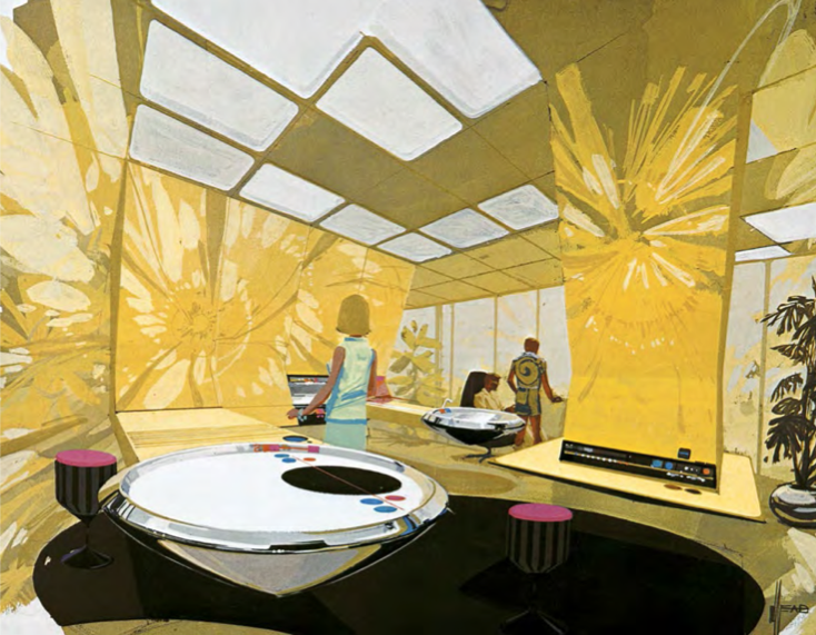 """Tomorrow's Kitchen."" Syd Mead for Phillips, 1970."