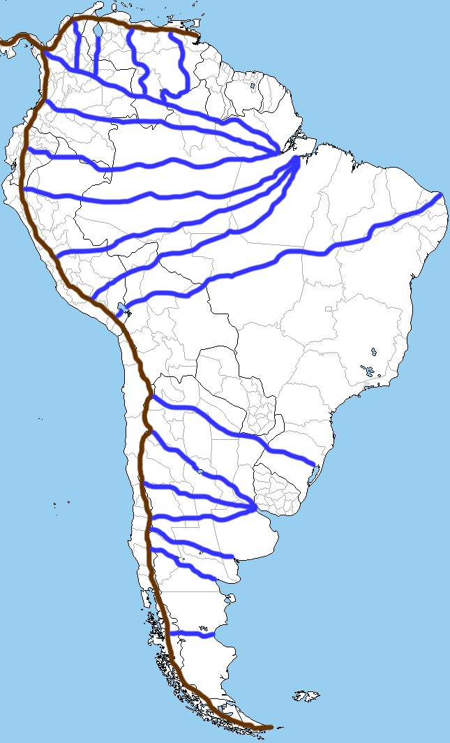 South America Map With Rivers.Great Lakes Earth Geography Universe Factory Medium