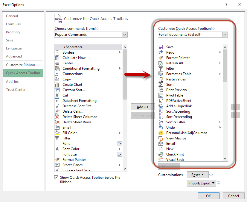 how to change default settings in excel 2010