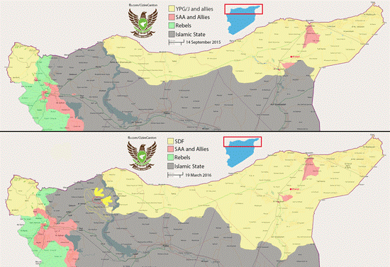 map of us backed sdf advances vs isis yellow in syria from september 2015 to march 2016