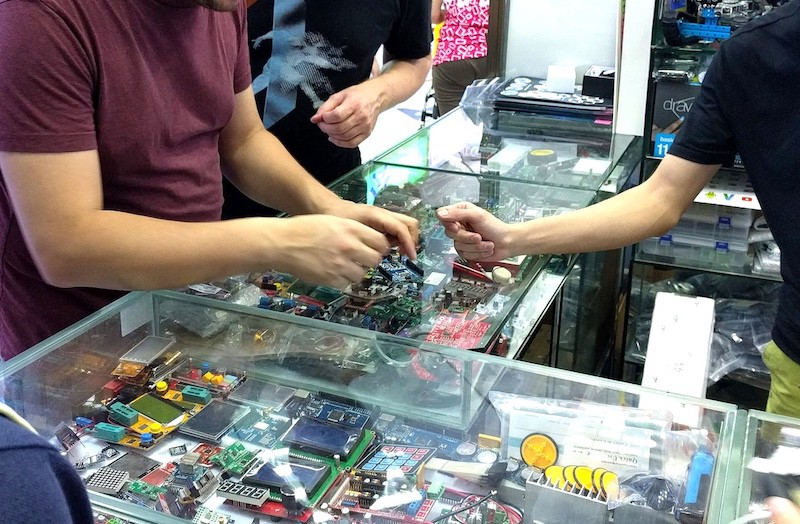 During a visit to the market we sampled a wide range of 'Arduino friendly' boards. Samples sold for a few dollars, a larger order would presumably have been much cheaper. Image: Peter Bihr (CC by-nc-sa)