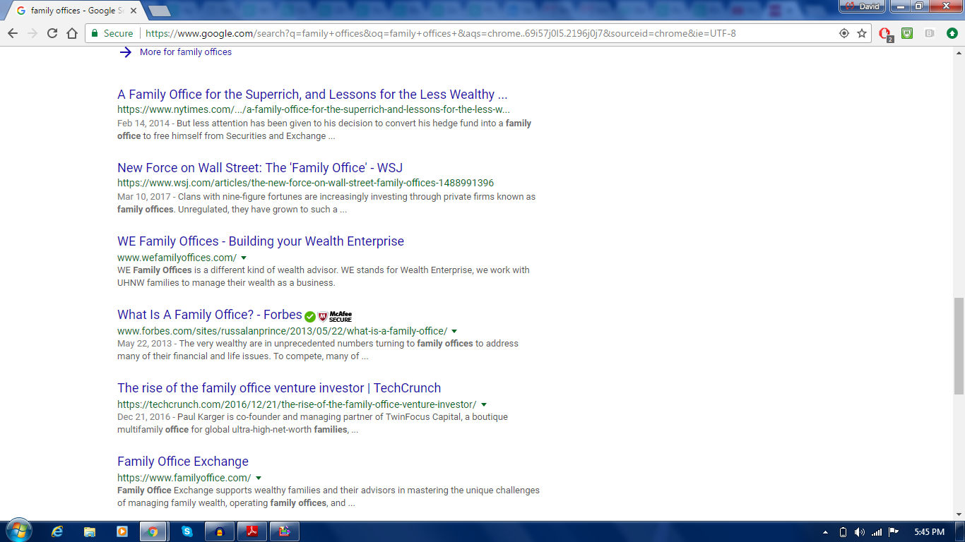 Google Search For Phrase Family Offices Which Return Some News Stories And  Consortium That Exist