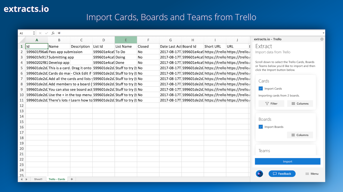You can now import your selected Cards, Boards and Teams