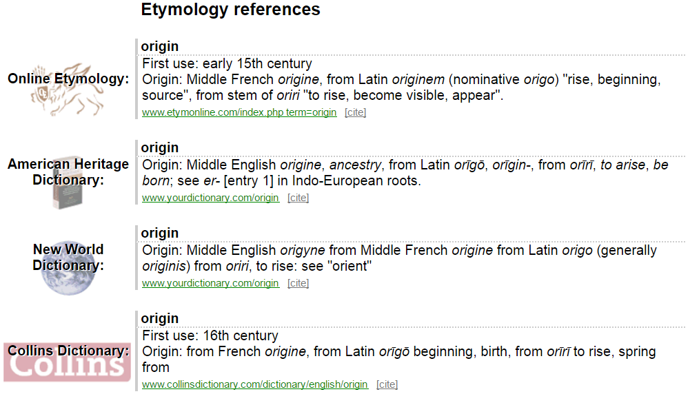 Results For The Query Origin On Memidex Amount Of Possible Dictionaries Returning Can Be Up To Ten