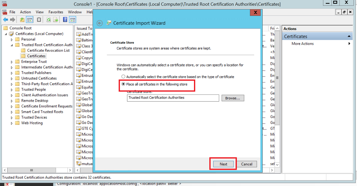 Configuring client certificates for mutual authentication on iis 8 now you will see your certificate on trusted certificate list 1betcityfo Gallery
