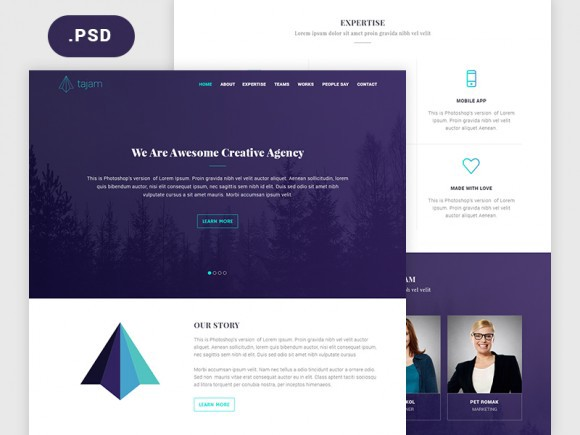 Free 10 best psd website design templates ui collections medium tajam agency website template free psd pronofoot35fo Choice Image