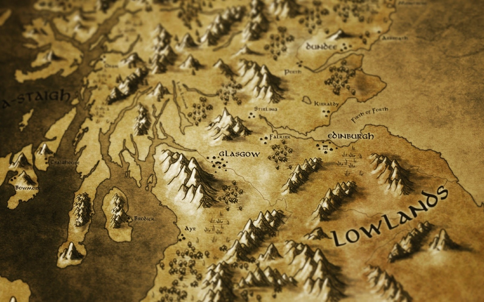 central belt of scotland in lord of the rings style