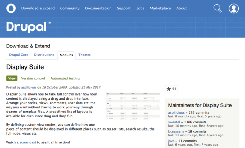 Introduction to display suite for drupal 8 w practical example screenshot of the display suite module page maxwellsz