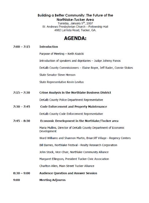 town hall meeting agenda template