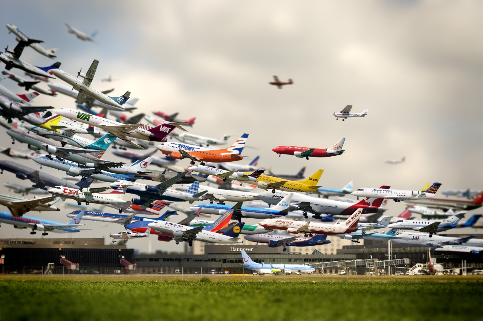 A Composite Image Of Aircraft Taking Off Flughafen By Ho Yeol Ryu