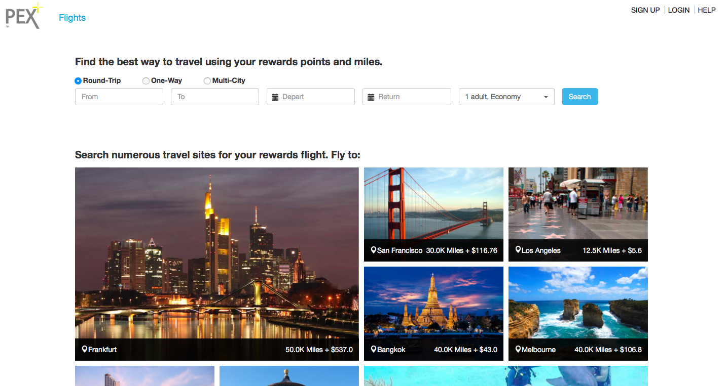 find the cheapest flight using your frequent flyer miles on PEX+