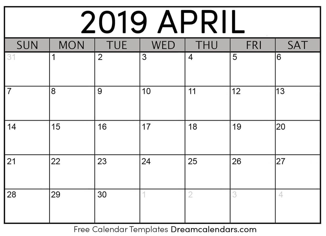 Printable April 2019 Calendar Templates Helena Orstem Medium