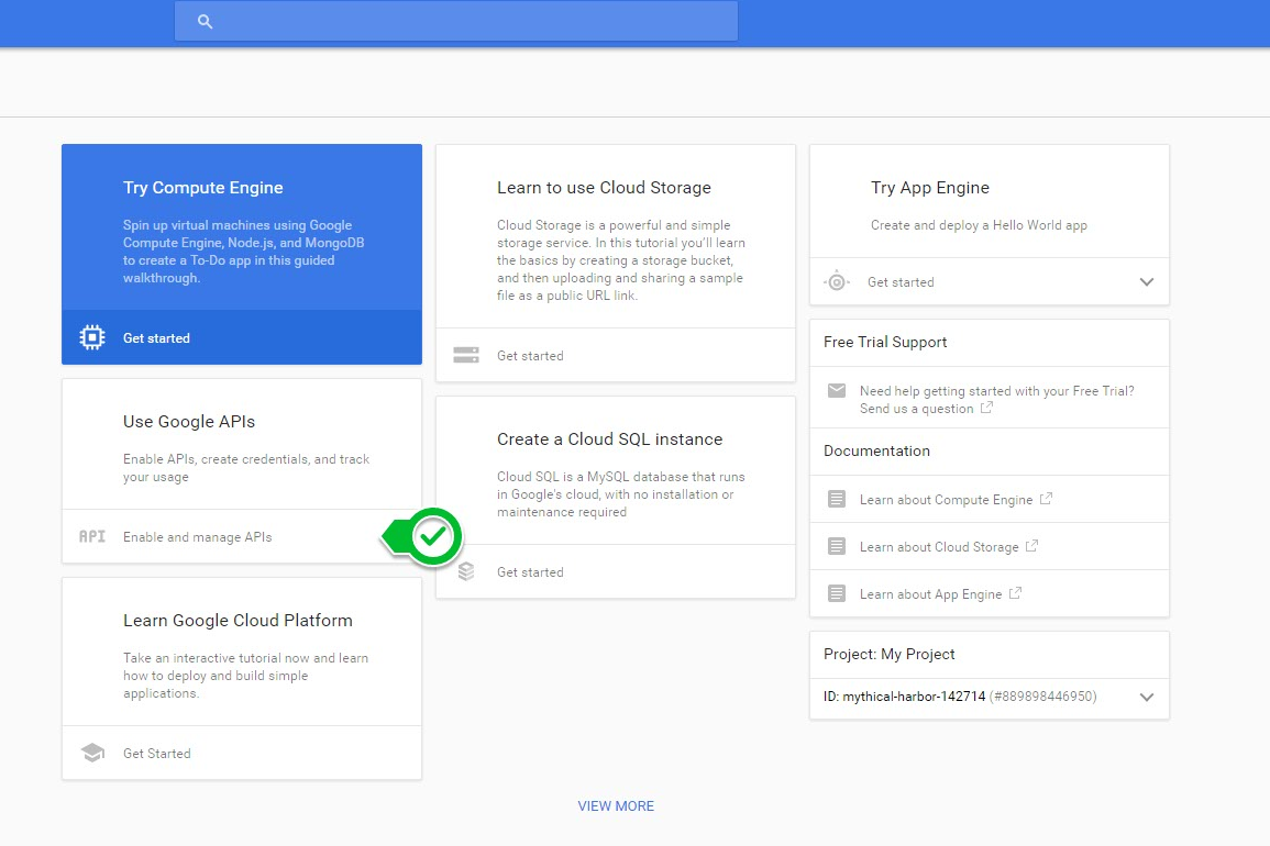 After You Create A New Project Youll See Something Like This Click On Enable And Manage APIs