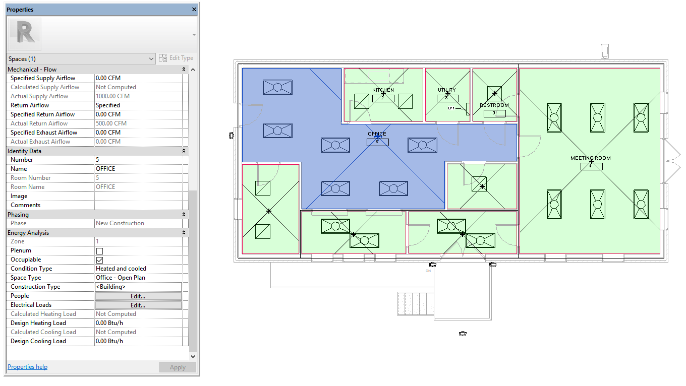 Discover Insight 360 For Building Energy Modeling Autodesk Drawing Hvac Systems Using Autocad Mep In This Example Spaces Have Been Added And The Analysis Properties Edited Occupancy Condition Type Space More