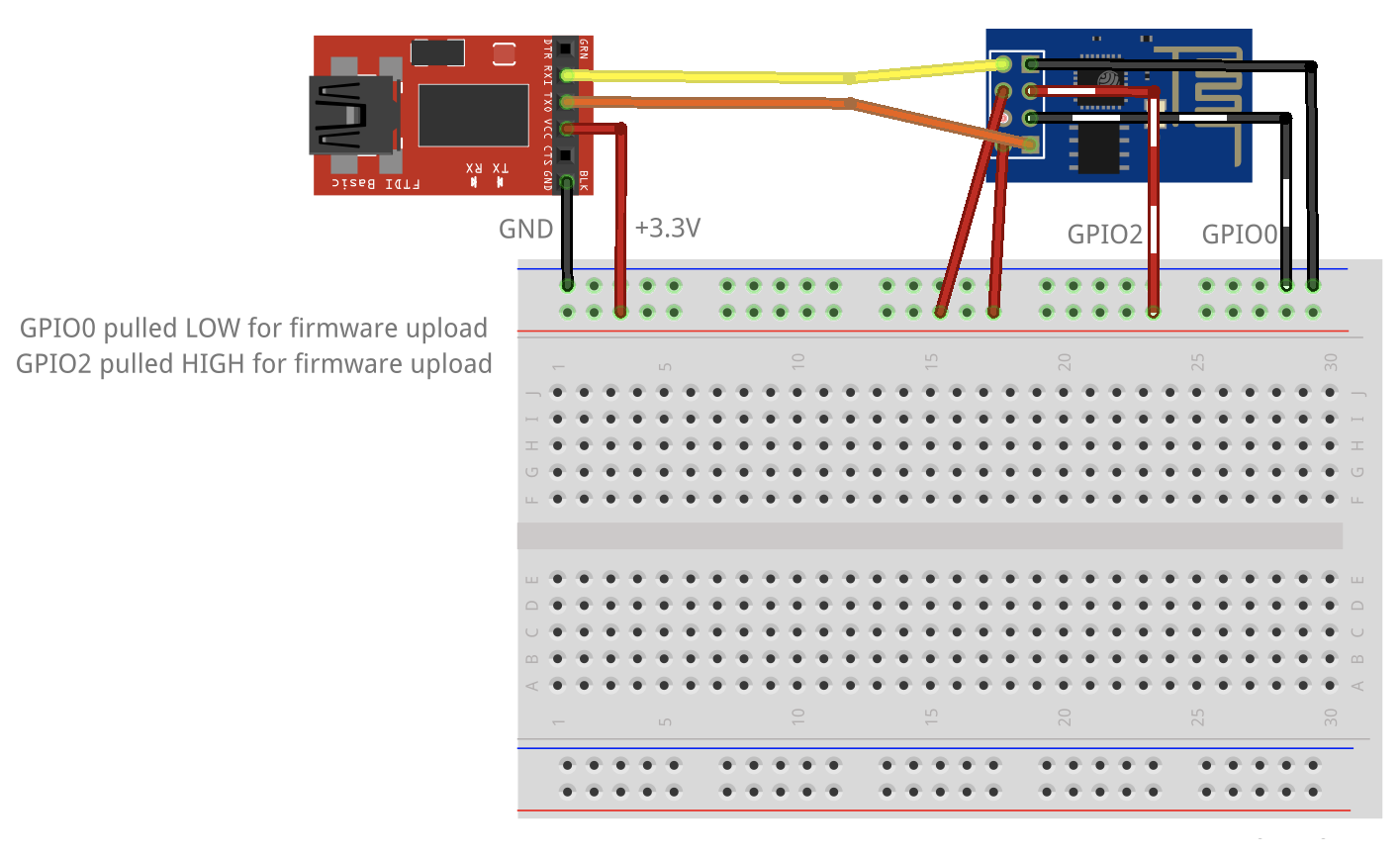 Getting Started With The Esp8266 Alasdair Allan Medium Start At One End Of Each Wire And Go Over Every Single Connection Esp 01 Wired Up To An Ftdi Adaptor Using A Breadboard In Bootloader Mode