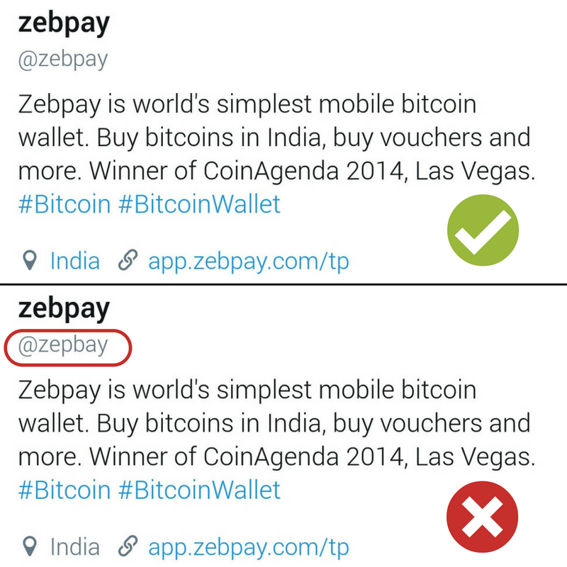 Your complete guide to bitcoin related scams zebpay blog real vs fake zebpay twitter account ccuart Choice Image