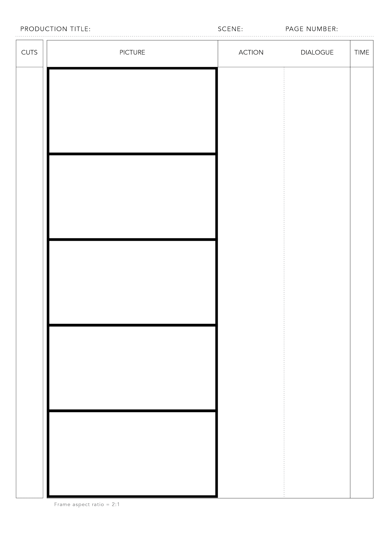 Free PDF Storyboard Template For 21 Aspect Ratio On DIN A4 Vertical Print