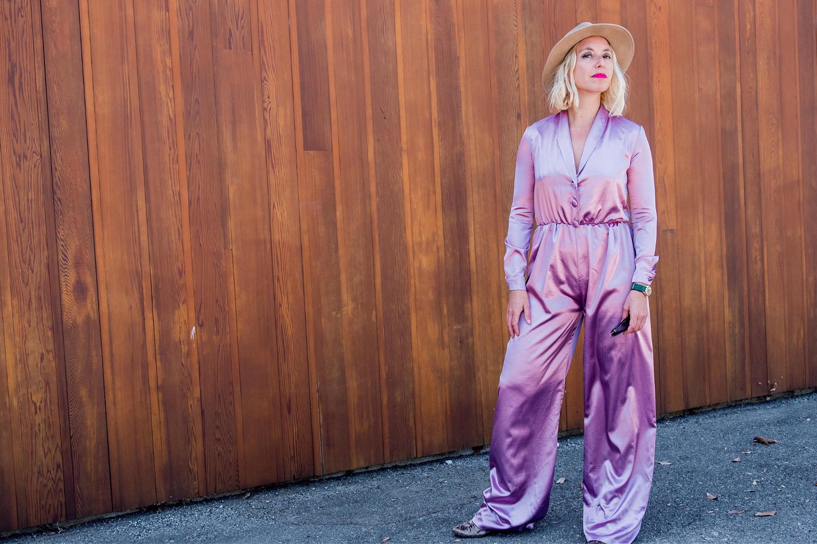 Natasha Case, the founder of Coolhaus wearing the dusty pink jumpsuit by Bastet Noir