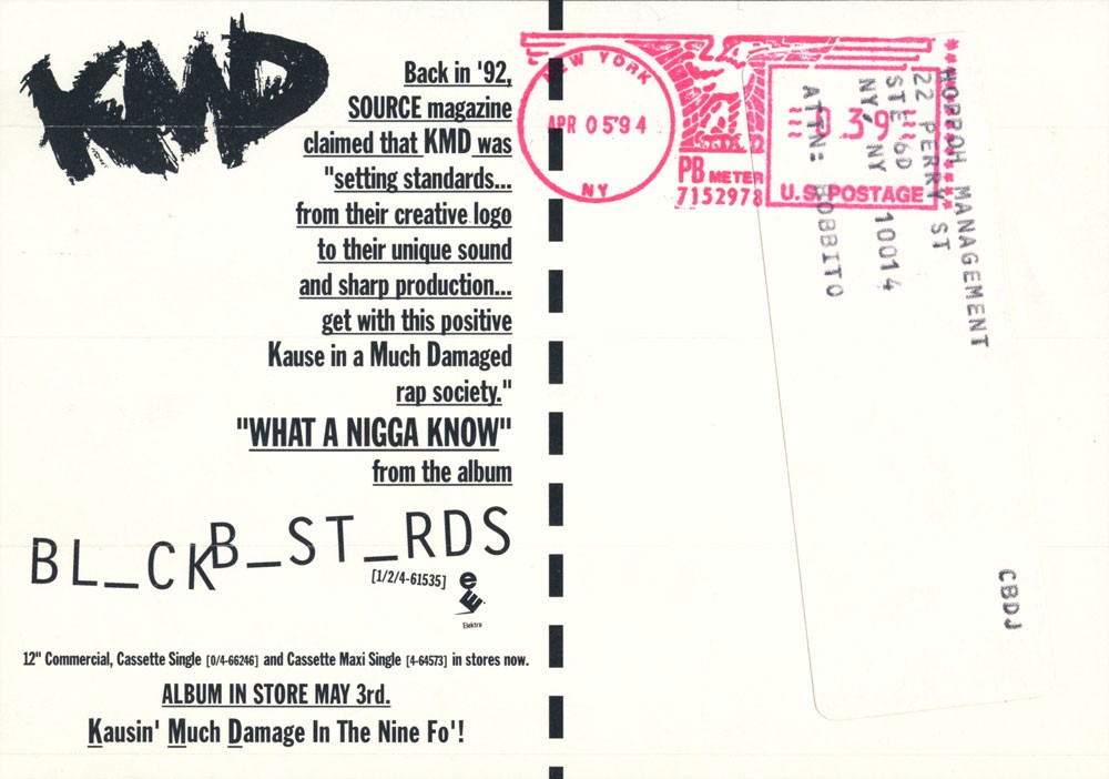 Promotional postcard sent in early April 1994, announcing a May 3 album release date (courtesy of the Adler Hip-Hop Archives / Cornell University Hip-Hop ...