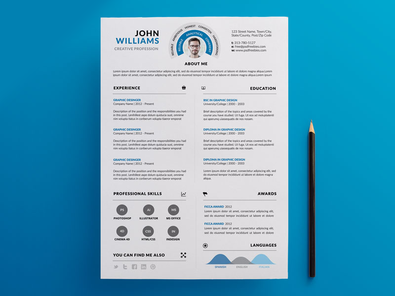 This Clean And Info Graphic Resume PSD Template Is Designed To Serve Your  Purpose Ensuring High Quality. The Info Graphic And Typography Has Been ...
