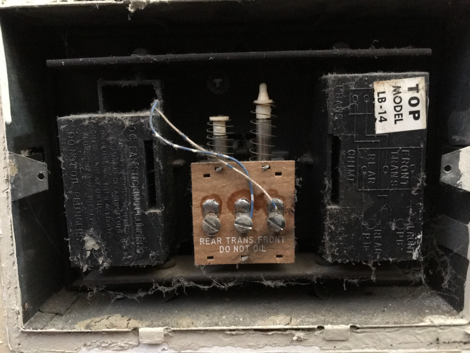 Build A Tweeting Doorbell Charltons Blog Electrical Wiring Not Working The Circuitry That Controls Bell Ringing Solenoids Two Wires Become Energized When Is Pressed Powering An Electromagnet Forces