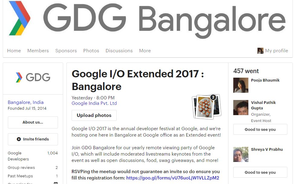 First time experiences at google io extended 2017 bangalore meetup page for google io extended 2017 bangalore stopboris Choice Image